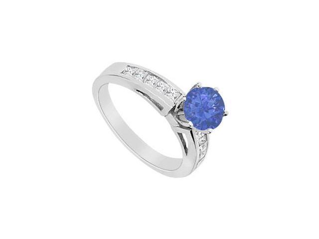 Natural Sapphire Half Carat with Channel Set Diamond Engagement Ring in 14K White Gold 1.00 Cara
