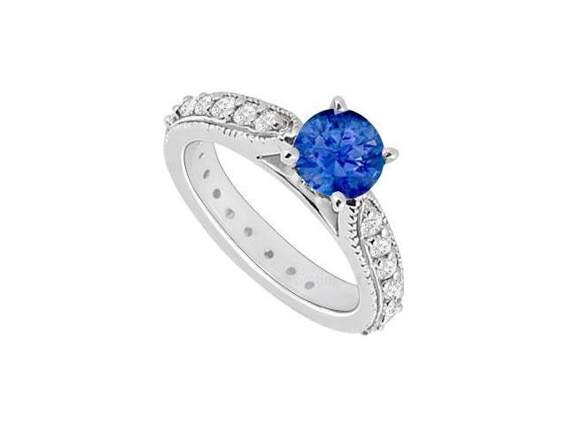 14K White Gold  Sapphire and Diamond Engagement Ring 0.85 CT TGW