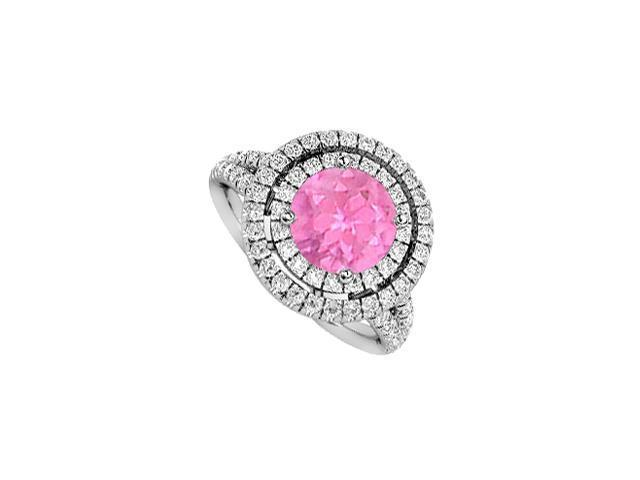 1 Carat Pink Sapphire Engagement Ring Halo Diamonds in 14K White Gold 2 Carat Total Gem Weight