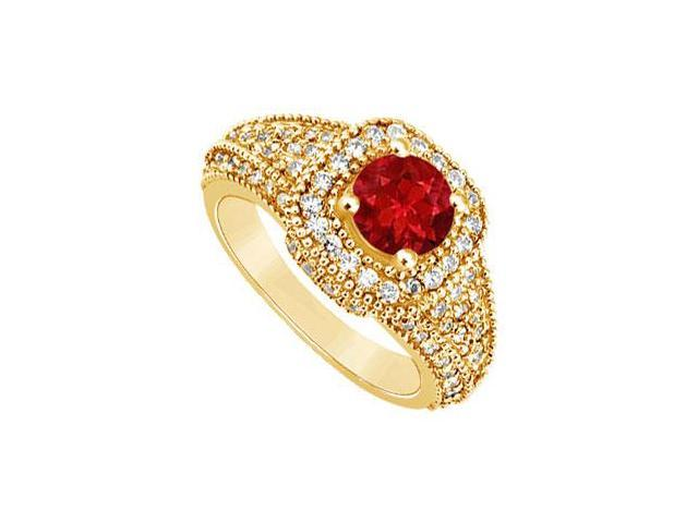 Ruby and Diamond Engagement Ring  14K Yellow Gold - 1.25 CT TGW