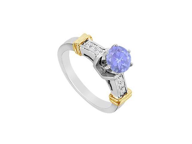 Engagement Ring in 14K White and Yellow Gold with Diamond and Natural Tanzanite 1.00 Carat TGW