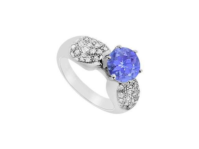 December Birthstone Created Tanzanite and CZ Cluster Engagement Rings 14K White Gold 1.50.ct.tgw
