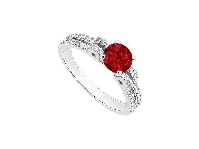 Natural Ruby and Diamond Engagement Ring in White Gold 14K Total Gem Weight of 1 Carat