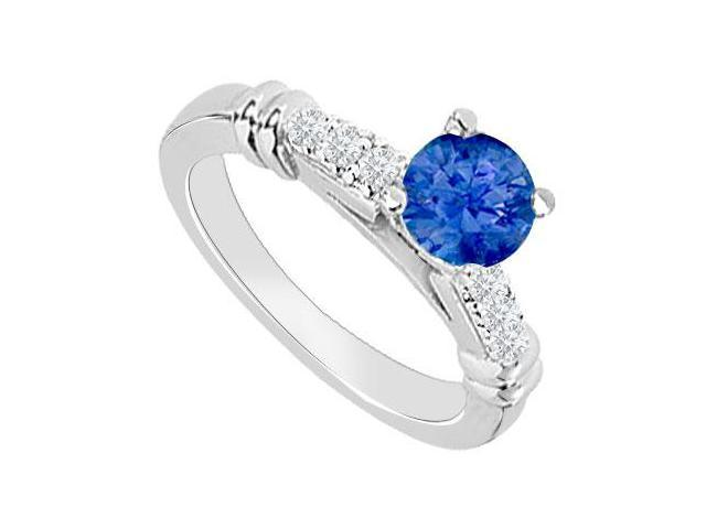 September Birthstone Created Sapphire  CZ Engagement Rings in 14kt White Gold 0.60.ct.tgw