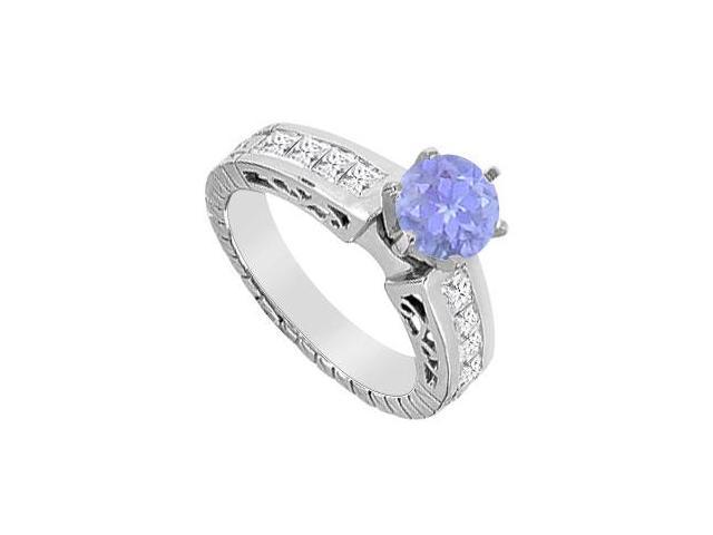 Diamond and Natural Tanzanite Engagement Ring with TGW 1.40 Carat in 14K White Gold