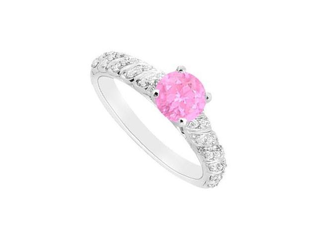 September Birthstone Created Pink Sapphire and CZ Engagement Ring in 14K White Gold 0.75 ct.tgw