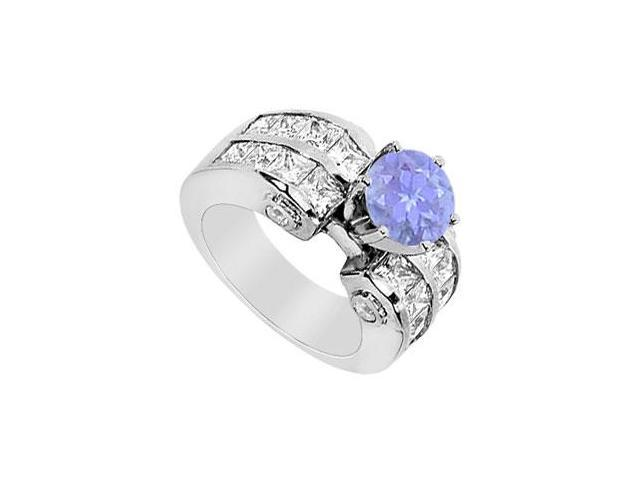 Prong Set Natural Tanzanite and Diamond Princess Cut Engagement Ring in 14K White Gold 3.65 CT T