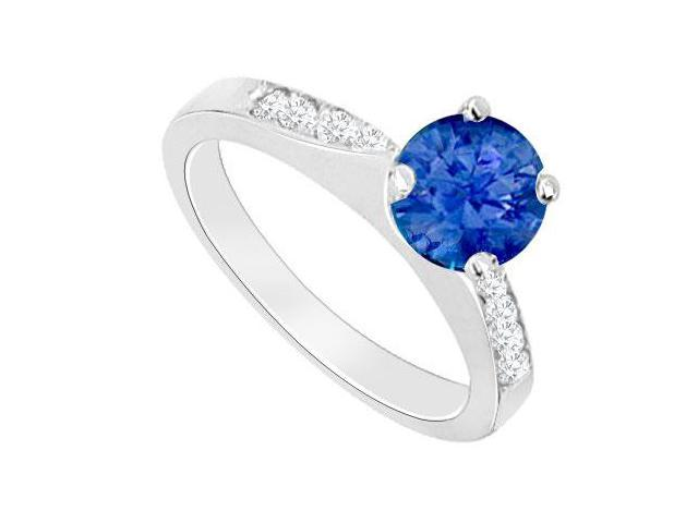 Created Sapphire and Cubic Zirconia Engagement Rings in 14kt White Gold 0.75.ct.tgw