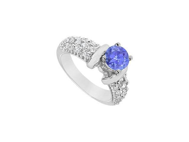 Created Tanzanite and Cubic Zirconia Cluster Engagement Rings in 14K White Gold 2.00.ct.tgw