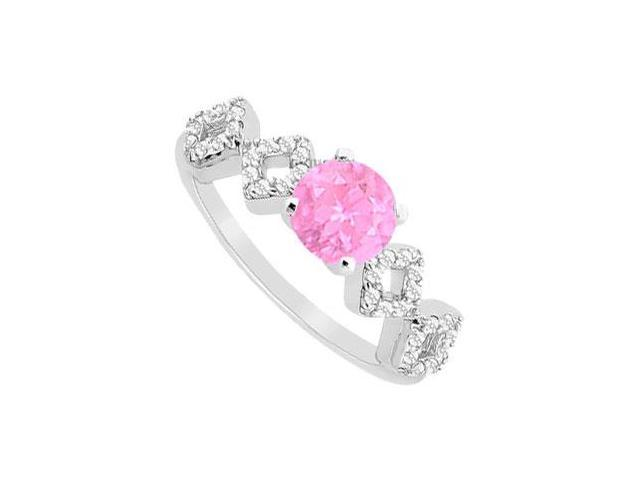 September Birthstone Created Pink Sapphire and CZ Engagement Ring 14K White Gold  0.75 ct.tgw