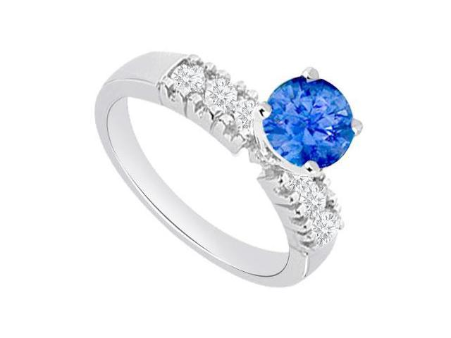 1 carat Engagement Rings with Created Sapphire and Cubic Zirconia in 14kt White Gold