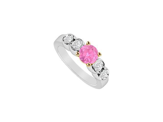 Pink Sapphire and Diamond Five Stone Engagement Ring 1 Carat Totaling in 14K Two Tone Gold Setti