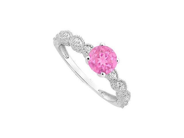 Created Pink Sapphire and Cubic Zirconia Milgrain Engagement Ring 14K White Gold 0.40 ct.tgw