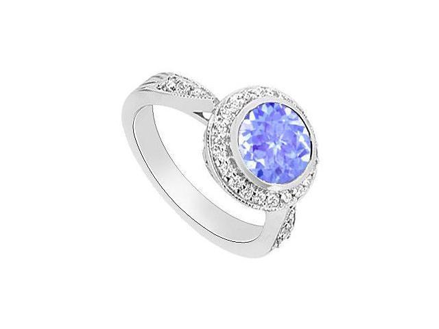 Created Tanzanite and Diamond Halo Engagement Ring  14K White Gold - 2.30 CT TGW