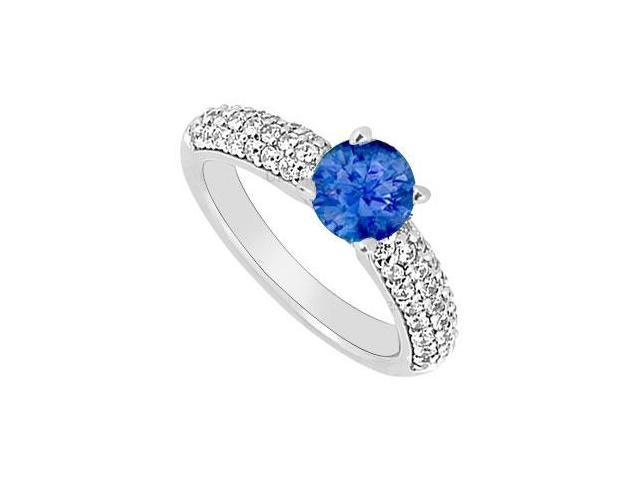14K White Gold  Blue Sapphire and Diamond Engagement Ring 1.10 CT TGW