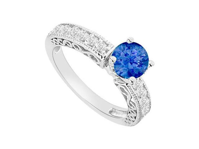 Created Sapphire and Cubic Zirconia Filigree Engagement Rings 14K White Gold 1.00.ct.tgw