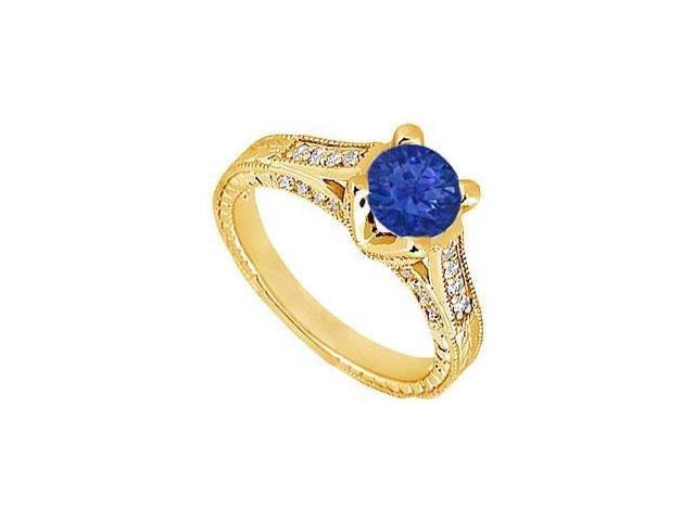 Sapphire and Diamond Engagement Ring  14K Yellow Gold - 1.00 CT TGW