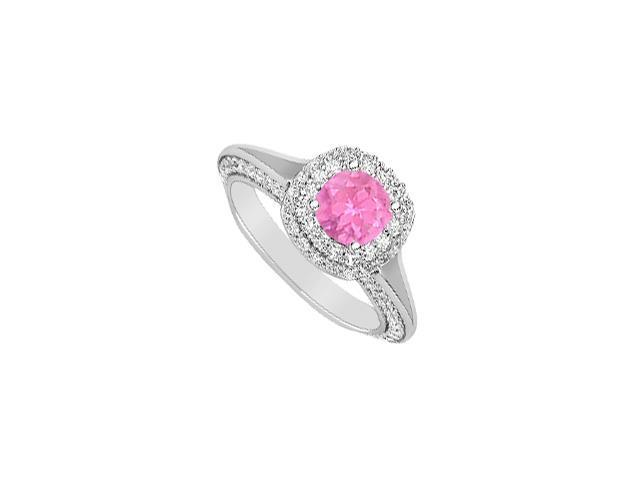 2 Carat Engagement Ring Diamonds and Pink Sapphire in 14K White Gold Setting