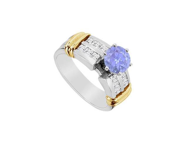 Princess Cut Diamond and Natural Tanzanite Engagement Ring in 14K Two Tone Gold 1.10 Carat TGW
