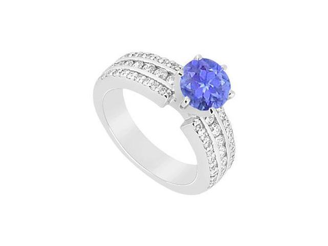 December Birthstone Created Tanzanite and CZ Engagement Ring in 14K White Gold 1.50.ct.tgw