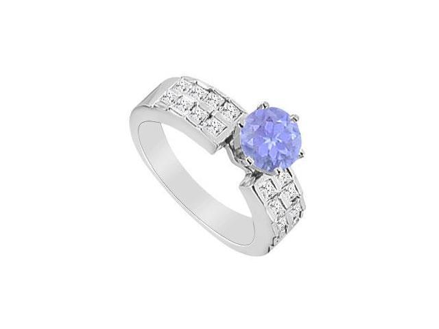14K White Gold Engagement Ring with Princess Cut Diamonds and Natural Tanzanite 1.00 Carat TGW