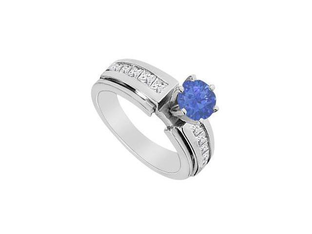 Natural Sapphire 0.50 ct. Engagement Ring with Diamond channel Set in 14K White Gold 1.25 CT TGW
