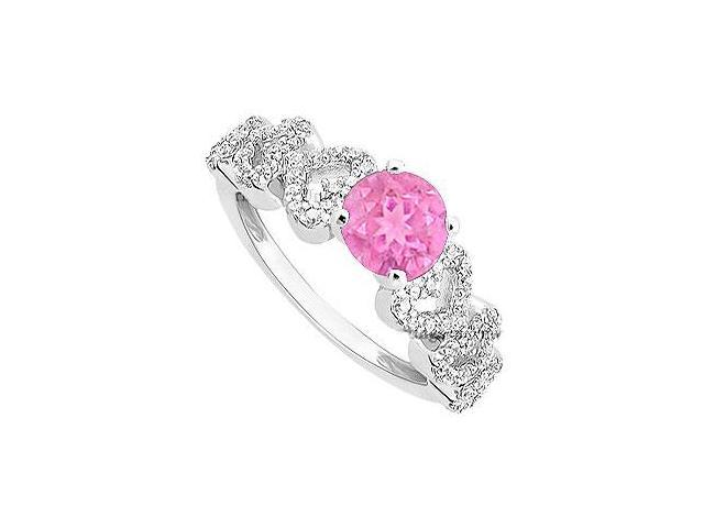 Created Pink Sapphire and Cubic Zirconia Engagement Ring in 14K White Gold 0.55.ct.tgw