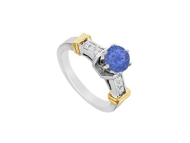 Engagement Ring Natural Sapphire with Diamond Princess Cut in 14K White Gold 1.00 Carat TGW