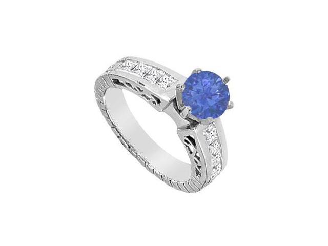 Prong Set Natural Sapphire and Diamond Princess Cut Engagement Ring in 14K White Gold 1.40 CT TG