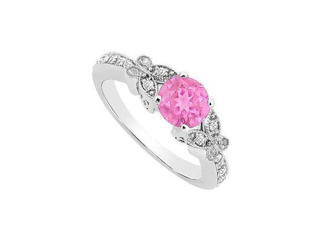 Created Pink Sapphire and Cubic Zirconia Butterfly Engagement Ring in 14K White Gold 0.66.ct.tgw