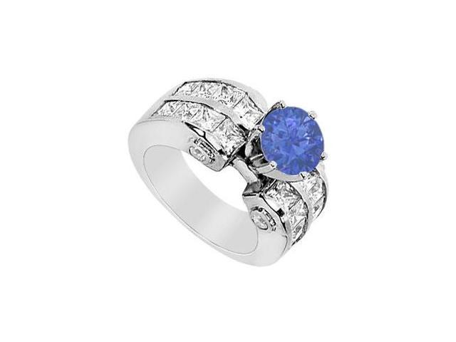 14K White Gold Engagement Ring with Princess Cut Diamonds and Natural Sapphire TGW 3.65 Carat