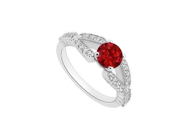 Diamond and Red Natural Ruby Engagement Ring in 14K White Gold One Carat Total Gem Weight