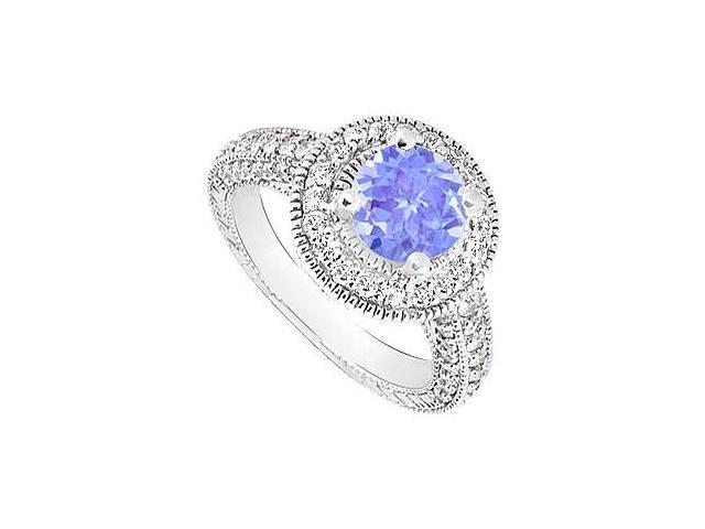 Tanzanite and Diamond Halo Engagement Ring  14K White Gold - 2.15 CT TGW
