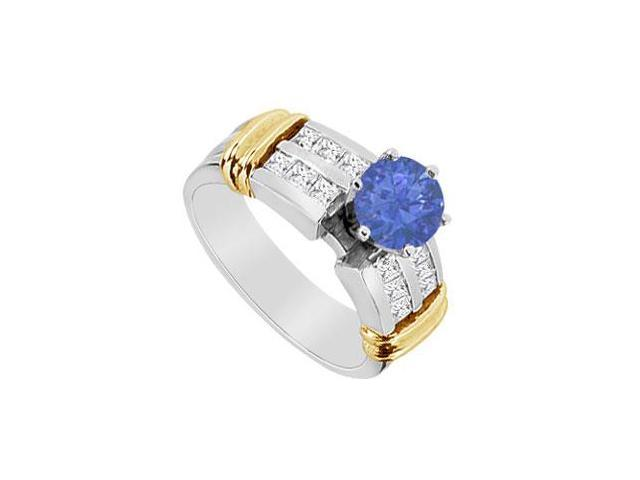Diamond and Natural Sapphire Engagement Ring in 14K Two Tone White and Yellow Gold 1.10 CT TGW
