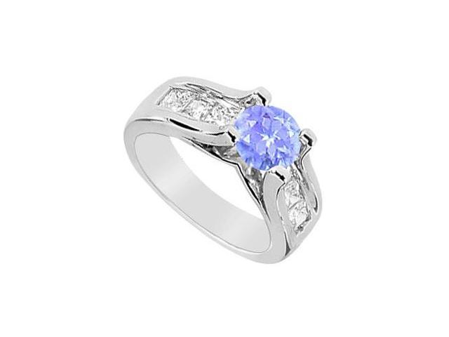 Tanzanite and Cubic Zirconia Engagement Ring in 14K White Gold 2.25 Carat TGW