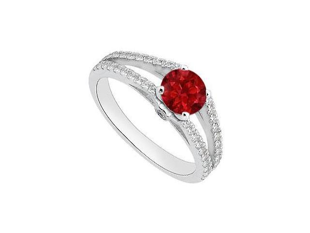 Natural Ruby Engagement Ring with Diamond in 14K White Gold 1.05 Carat Total Gem Weight