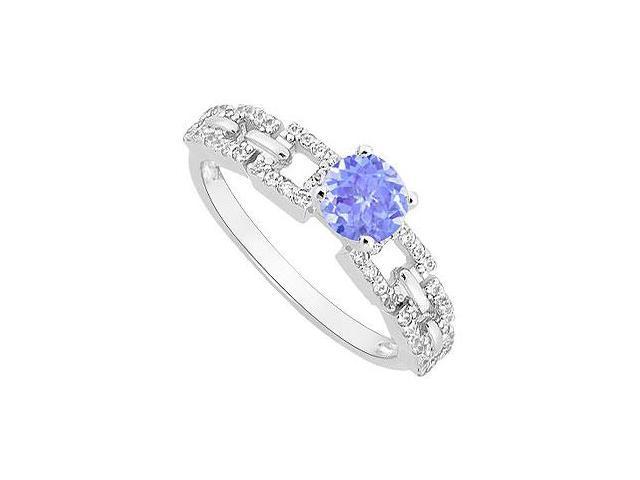 December Birthstone Created Tanzanite  CZ Engagement Ring 14K White Gold 0.75 ct.tgw