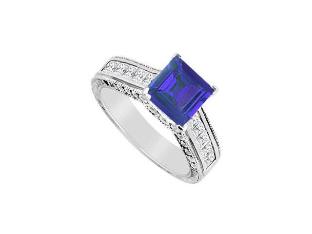 Natural Sapphire Half Carat Engagement Ring Diamond channel Set in 14K White Gold 2.00 CT TGW