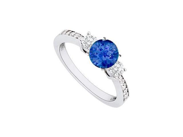 September Birthstone Created Sapphire and CZ Engagement Rings 14kt White Gold 1.00.ct.tgw