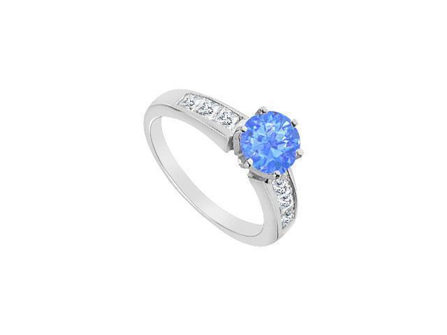 14K White Gold Diffuse Sapphire Engagement Ring with Cubic Zirconia 1.05 Carat TGW