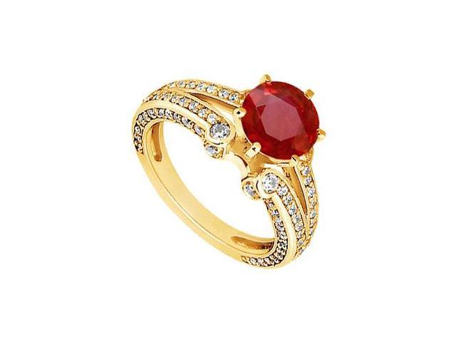Ruby and Diamond Engagement Ring  14K Yellow Gold - 1.75 CT TGW