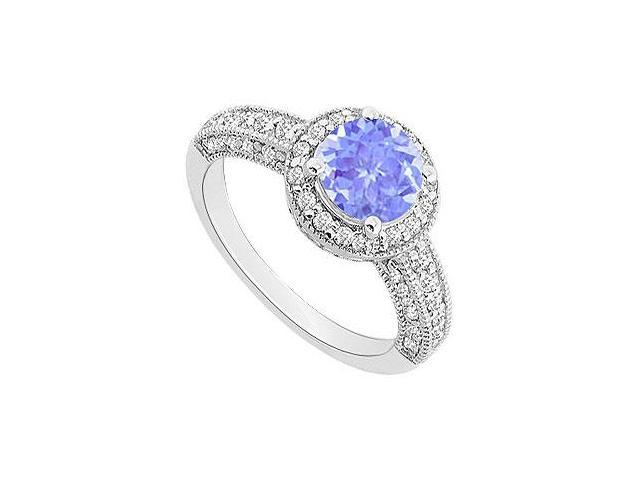Tanzanite and Diamond Halo Engagement Ring  14K White Gold - 1.55 CT TGW
