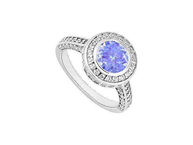 Tanzanite and Diamond Halo Engagement Ring  14K White Gold - 2.00 CT TGW