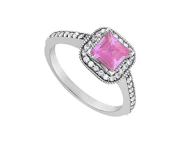 Created Pink Sapphire and CZ Engagement Ring in 14K White Gold 0.85 Carat Total Gem Weight