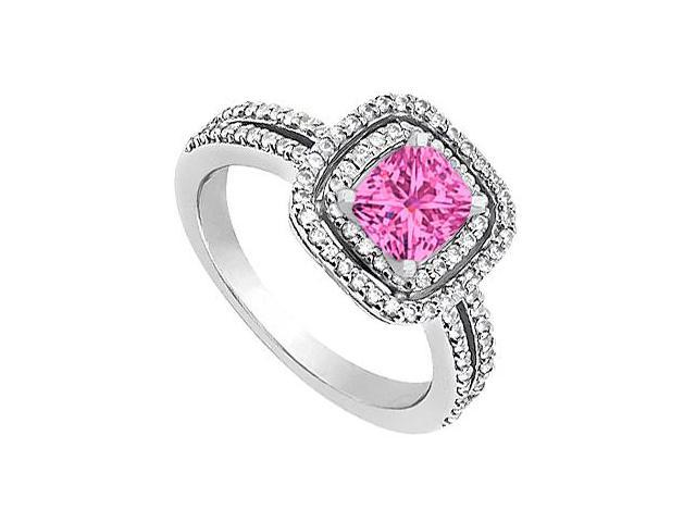 Engagement Ring in 14K White Gold CZ and Created Pink Sapphire 1.20 Carat Total Gem Weight
