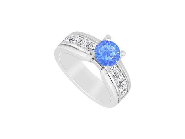 Diffuse Sapphire and CZ Channel set Engagement Ring in 14K White Gold 2.00 Carats TDW