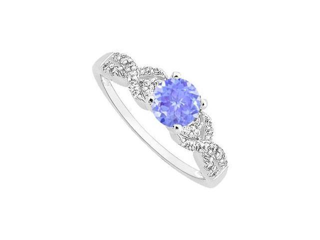 Created Tanzanite and CZ Engagement Ring with Wedding Band Set 14K White Gold 0.75 ct.tgw