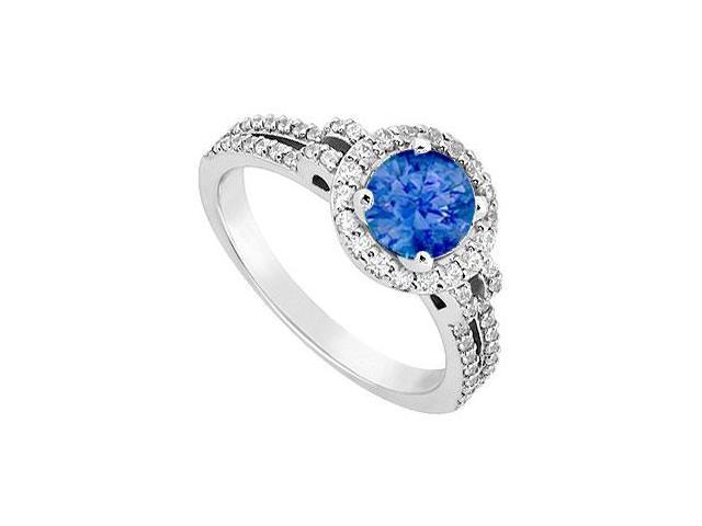 September Birthstone Created Sapphire  CZ Halo Engagement Rings 14kt White Gold 1.00ct.tgw