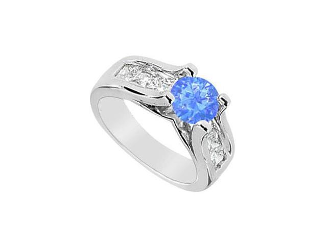 Princess Cut CZ and  Diffuse Sapphire Engagement Ring in 14K White Gold 2.25 Carat TGW