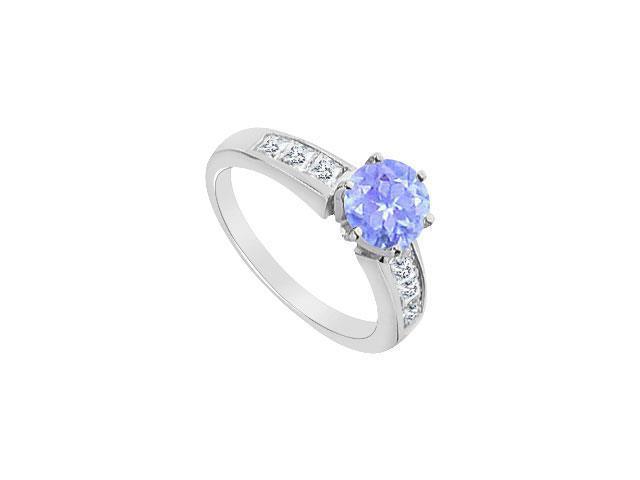 Princess Cut CZ and Tanzanite Engagement Ring in 14K White Gold 1.00 Carat TGW